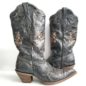 Corral Vintage Black Leather & Lizard Cowboy Boots